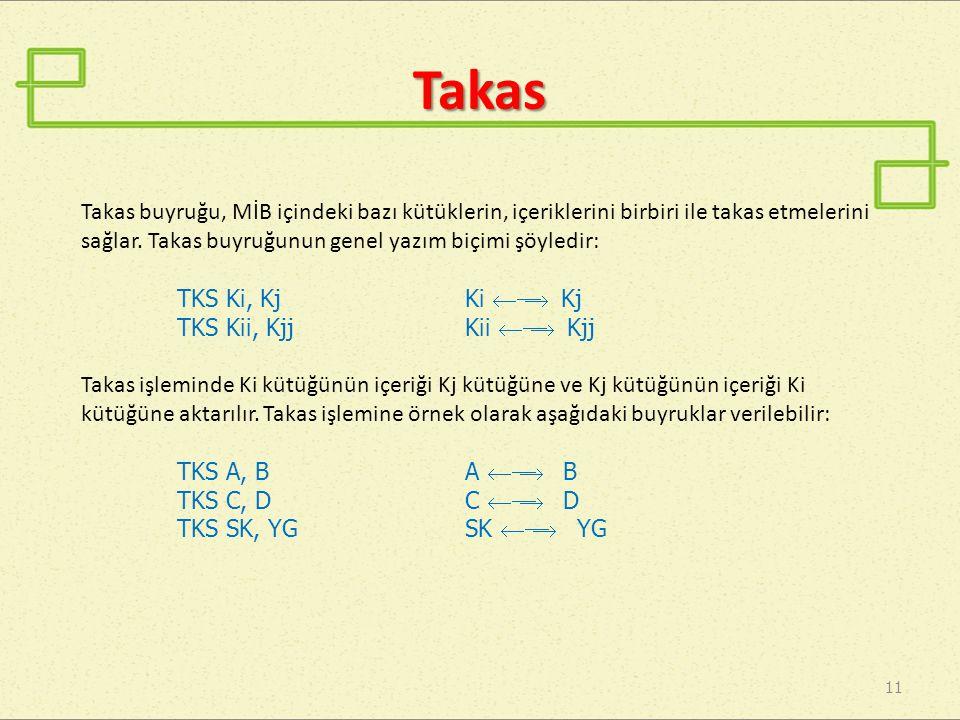 Takas Takas buyruğu, MİB içindeki bazı kütüklerin, içeriklerini birbiri ile takas etmelerini sağlar. Takas buyruğunun genel yazım biçimi şöyledir: