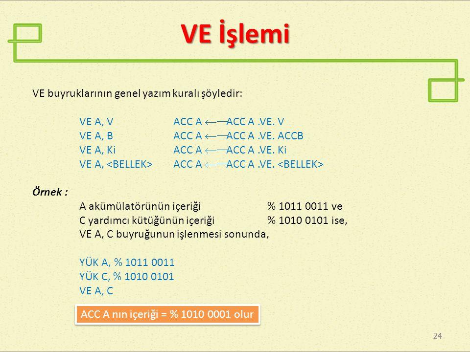 VE İşlemi VE buyruklarının genel yazım kuralı şöyledir: