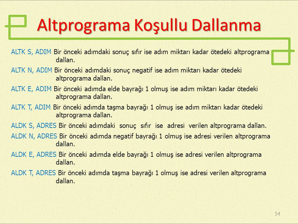 Altprograma Koşullu Dallanma
