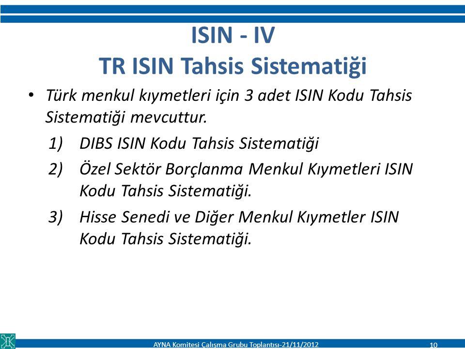 ISIN - IV TR ISIN Tahsis Sistematiği