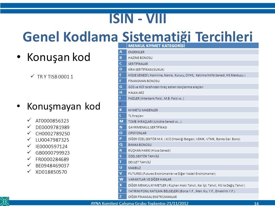 ISIN - VIII Genel Kodlama Sistematiği Tercihleri