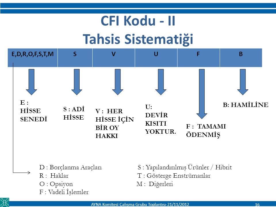 CFI Kodu - II Tahsis Sistematiği