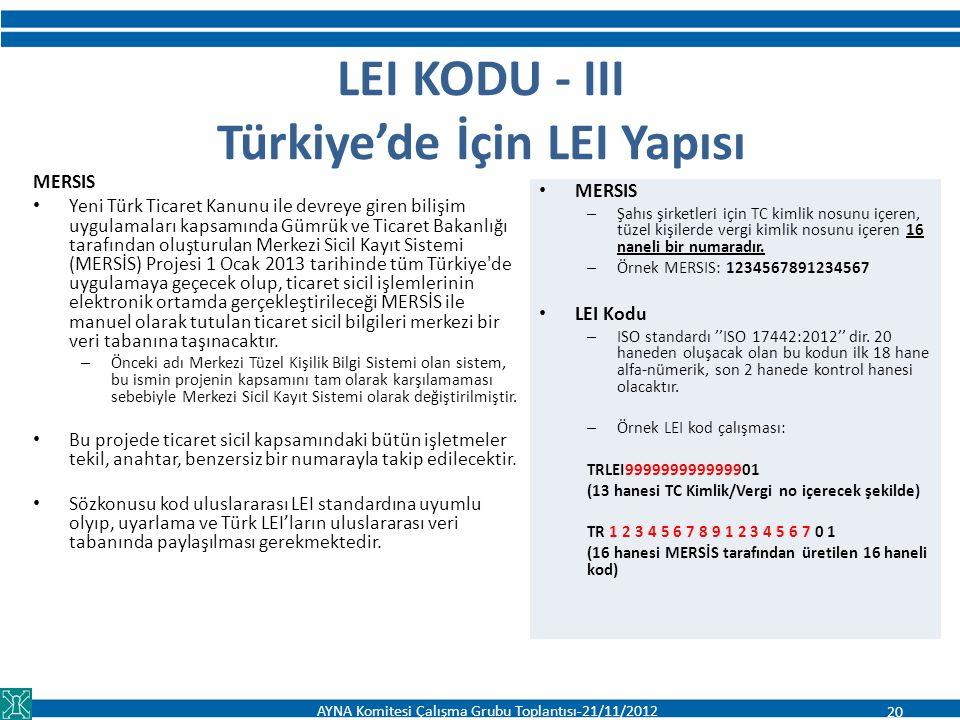 LEI KODU - III Türkiye'de İçin LEI Yapısı