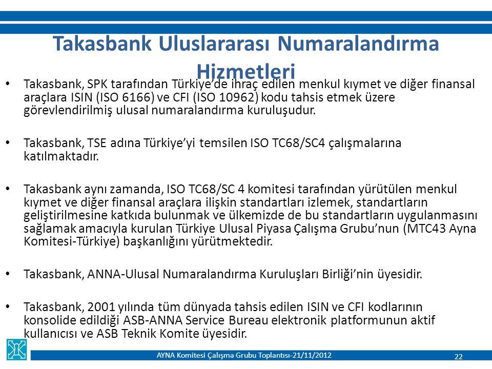 Takasbank Uluslararası Numaralandırma Hizmetleri