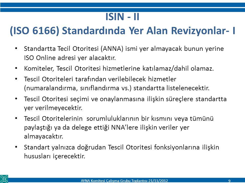 ISIN - II (ISO 6166) Standardında Yer Alan Revizyonlar- I