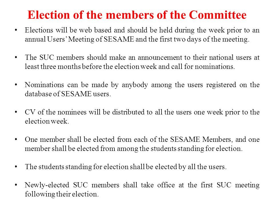 Election of the members of the Committee