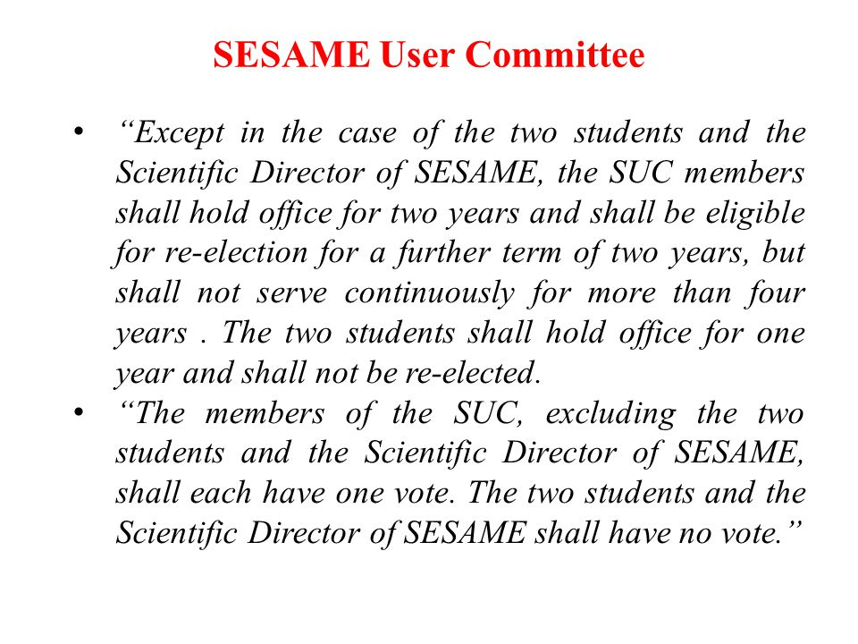 SESAME User Committee