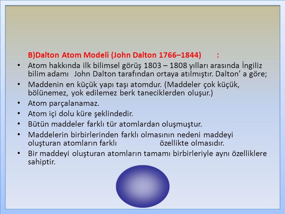 B)Dalton Atom Modeli (John Dalton 1766–1844) :