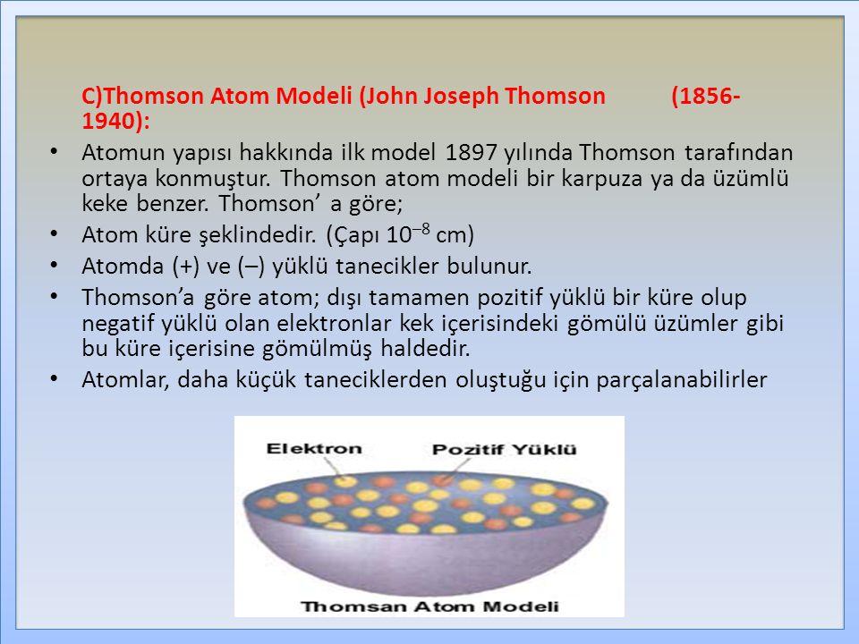 C)Thomson Atom Modeli (John Joseph Thomson (1856-1940):