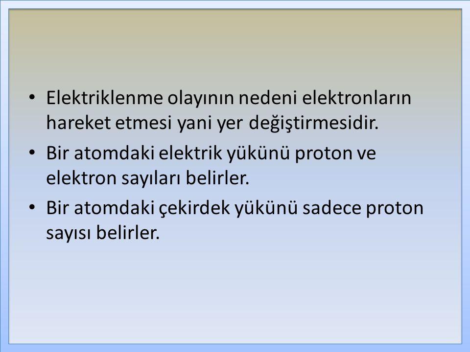 Elektriklenme olayının nedeni elektronların hareket etmesi yani yer değiştirmesidir.