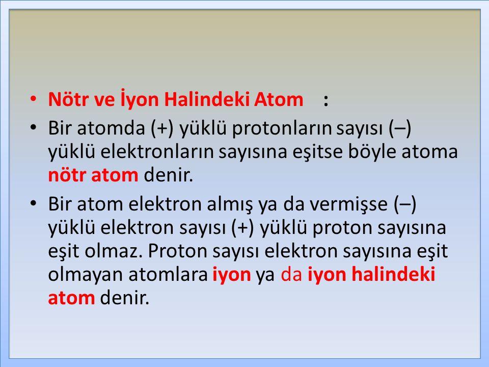 Nötr ve İyon Halindeki Atom :