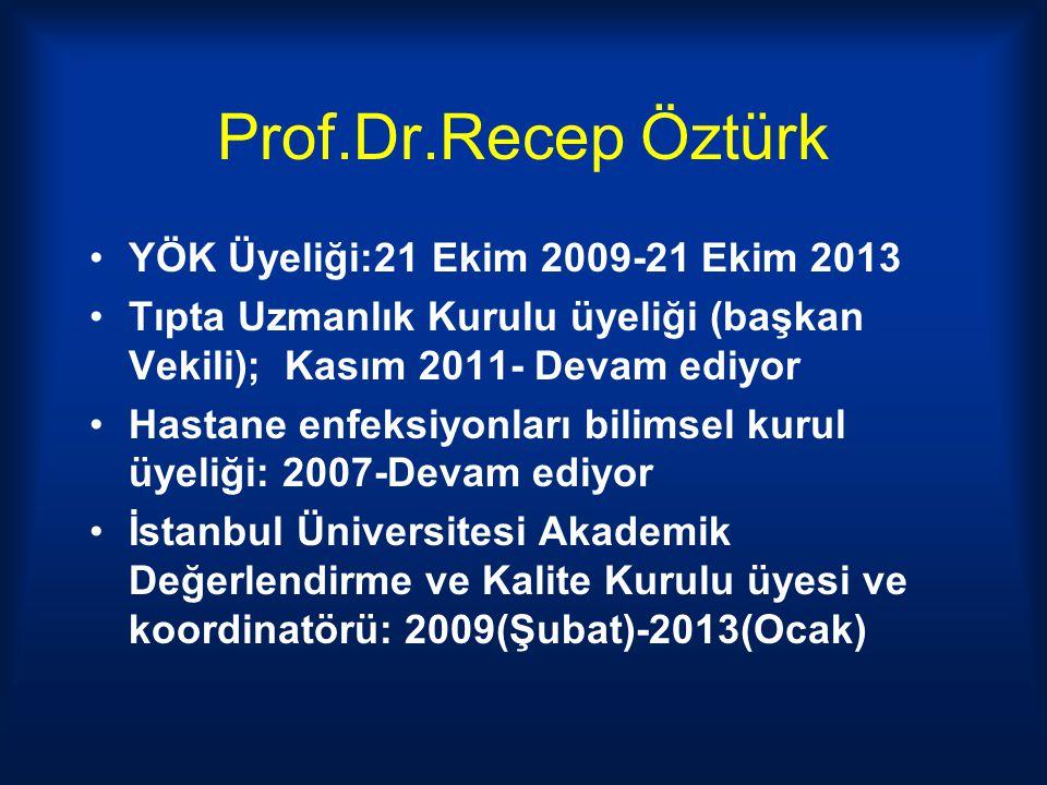 Prof.Dr.Recep Öztürk YÖK Üyeliği:21 Ekim 2009-21 Ekim 2013