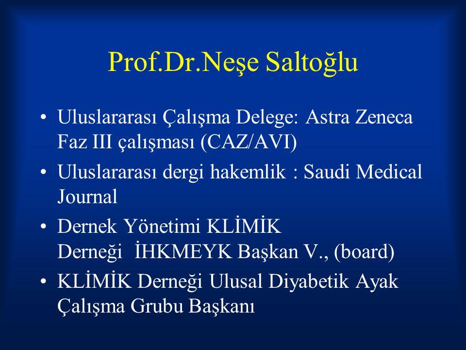 Prof.Dr.Neşe Saltoğlu Uluslararası Çalışma Delege: Astra Zeneca Faz III çalışması (CAZ/AVI) Uluslararası dergi hakemlik : Saudi Medical Journal.