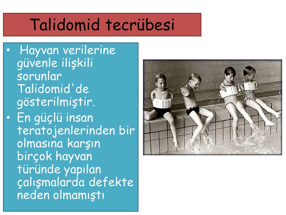 Talidomid tecrübesi Hayvan verilerine güvenle ilişkili sorunlar Talidomid de gösterilmiştir.