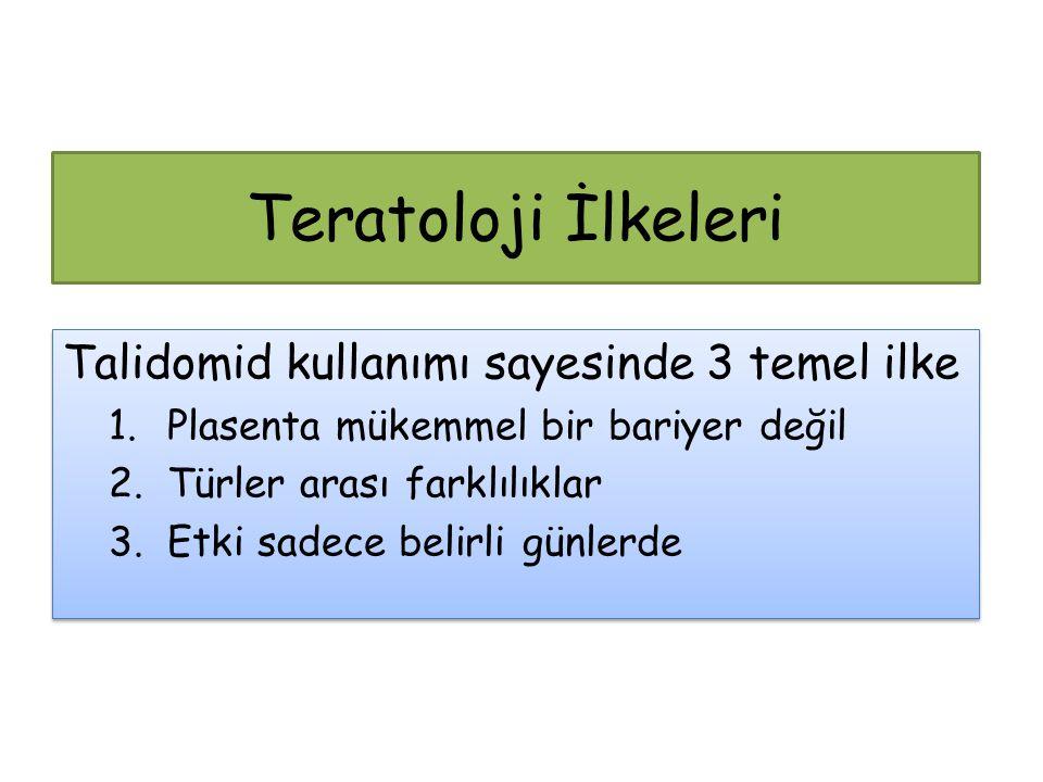 Teratoloji İlkeleri Talidomid kullanımı sayesinde 3 temel ilke