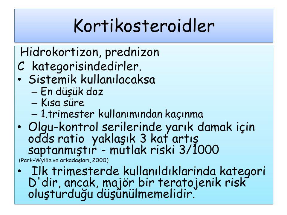 Kortikosteroidler Hidrokortizon, prednizon C kategorisindedirler.