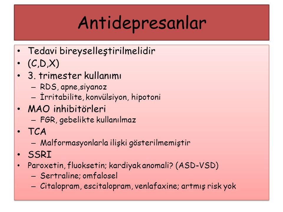 Antidepresanlar Tedavi bireyselleştirilmelidir (C,D,X)