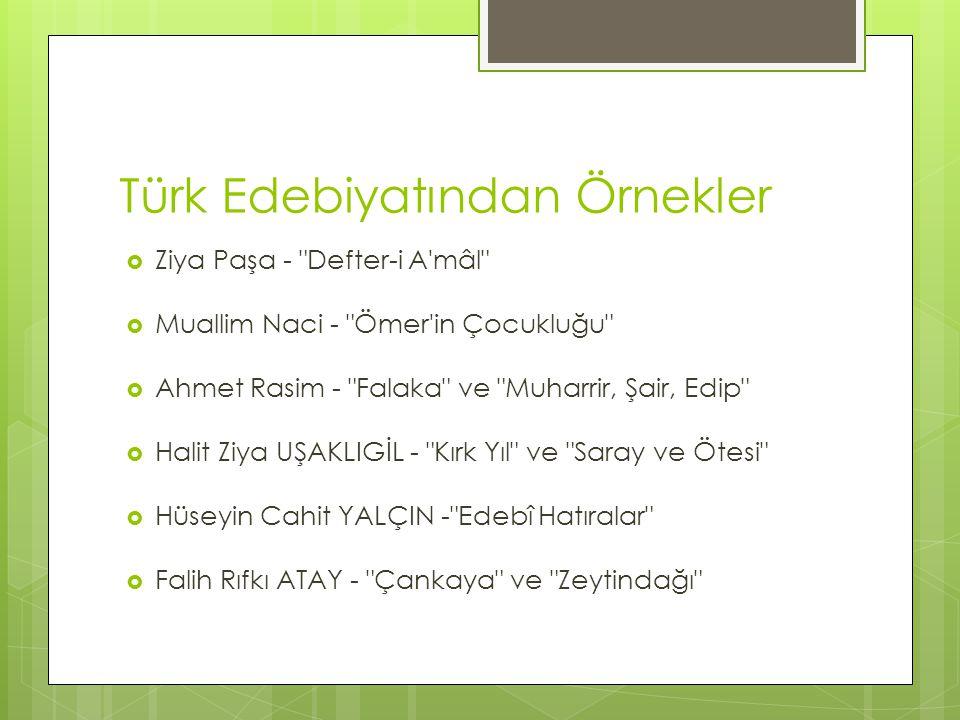 Türk Edebiyatından Örnekler