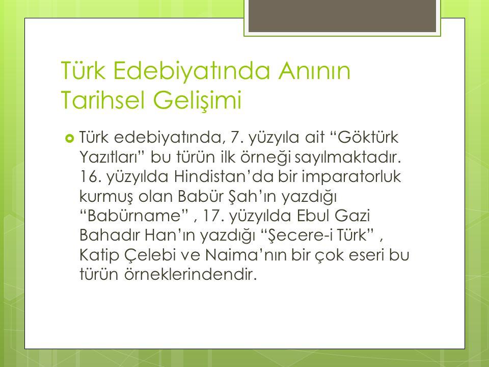 Türk Edebiyatında Anının Tarihsel Gelişimi