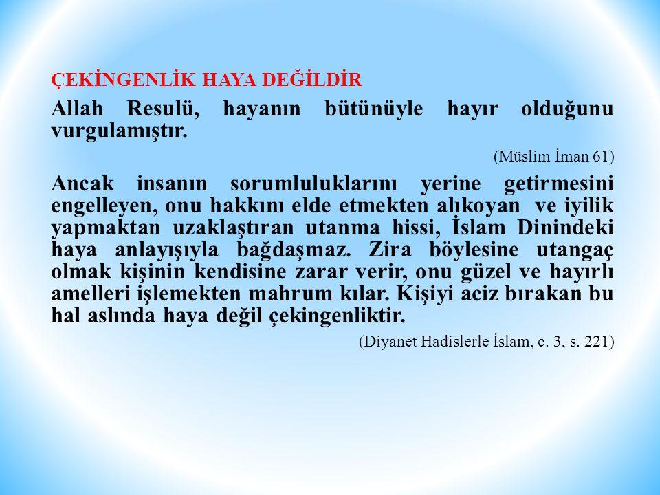 Allah Resulü, hayanın bütünüyle hayır olduğunu vurgulamıştır.