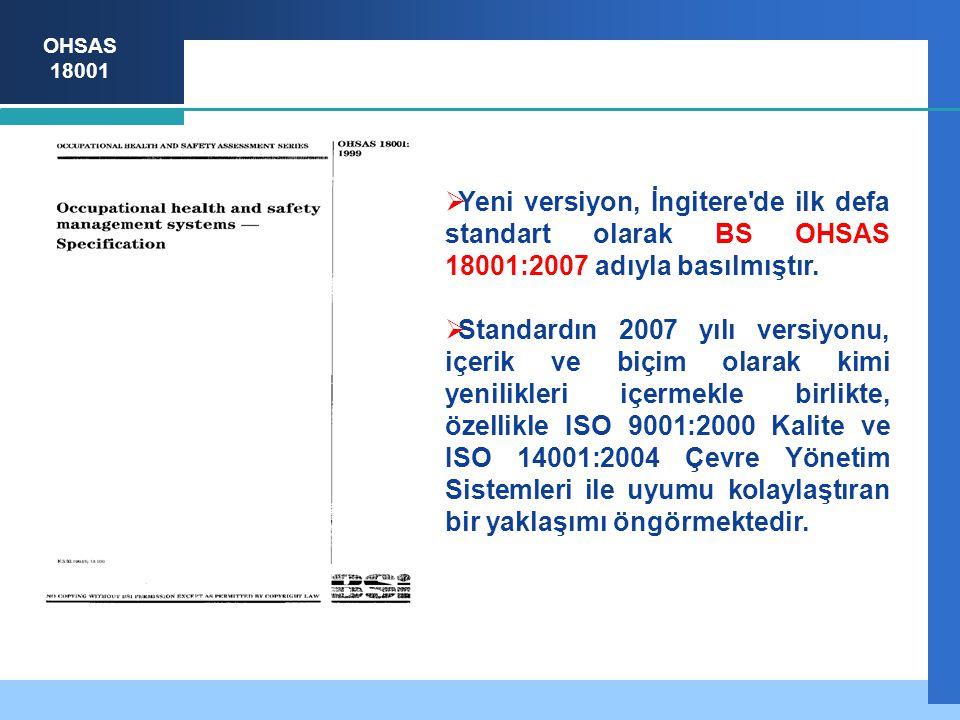 Yeni versiyon, İngitere de ilk defa standart olarak BS OHSAS 18001:2007 adıyla basılmıştır.