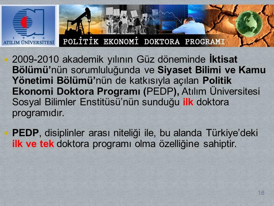 2009-2010 akademik yılının Güz döneminde İktisat Bölümü'nün sorumluluğunda ve Siyaset Bilimi ve Kamu Yönetimi Bölümü'nün de katkısıyla açılan Politik Ekonomi Doktora Programı (PEDP), Atılım Üniversitesi Sosyal Bilimler Enstitüsü'nün sunduğu ilk doktora programıdır.