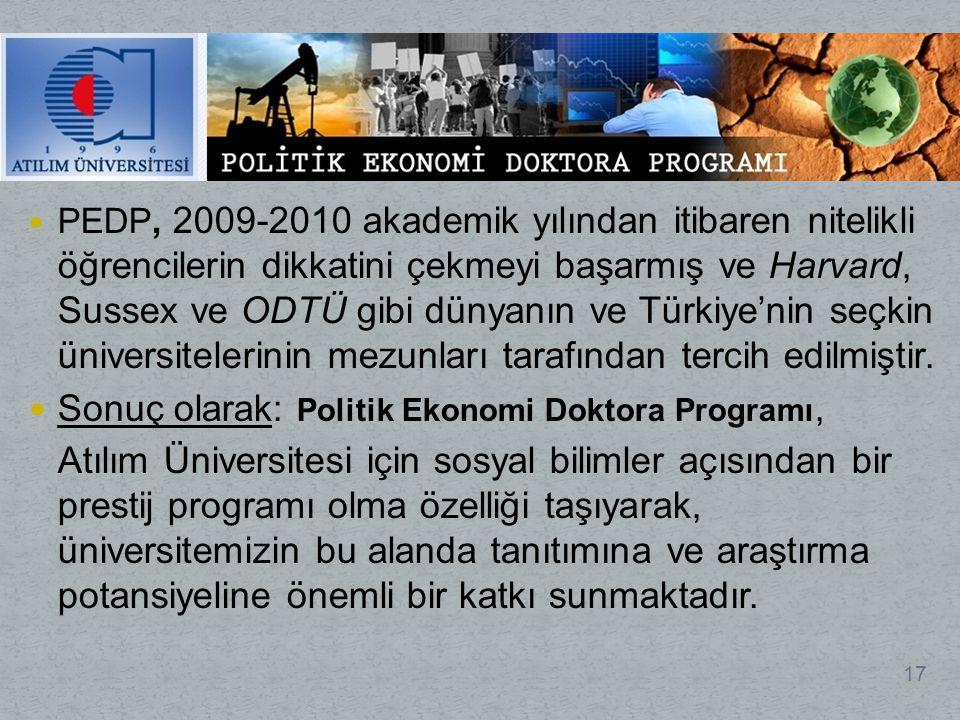 Sonuç olarak: Politik Ekonomi Doktora Programı,