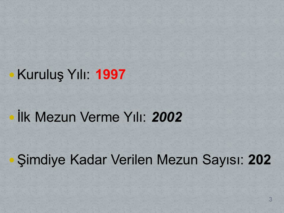 Kuruluş Yılı: 1997 İlk Mezun Verme Yılı: 2002 Şimdiye Kadar Verilen Mezun Sayısı: 202