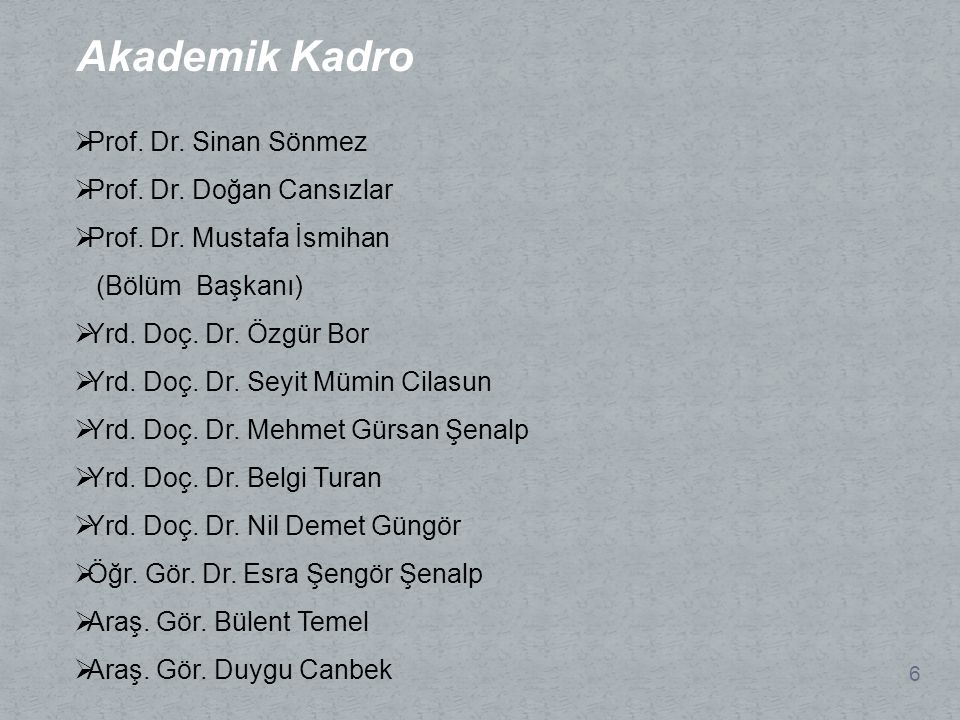 Akademik Kadro Prof. Dr. Sinan Sönmez Prof. Dr. Doğan Cansızlar