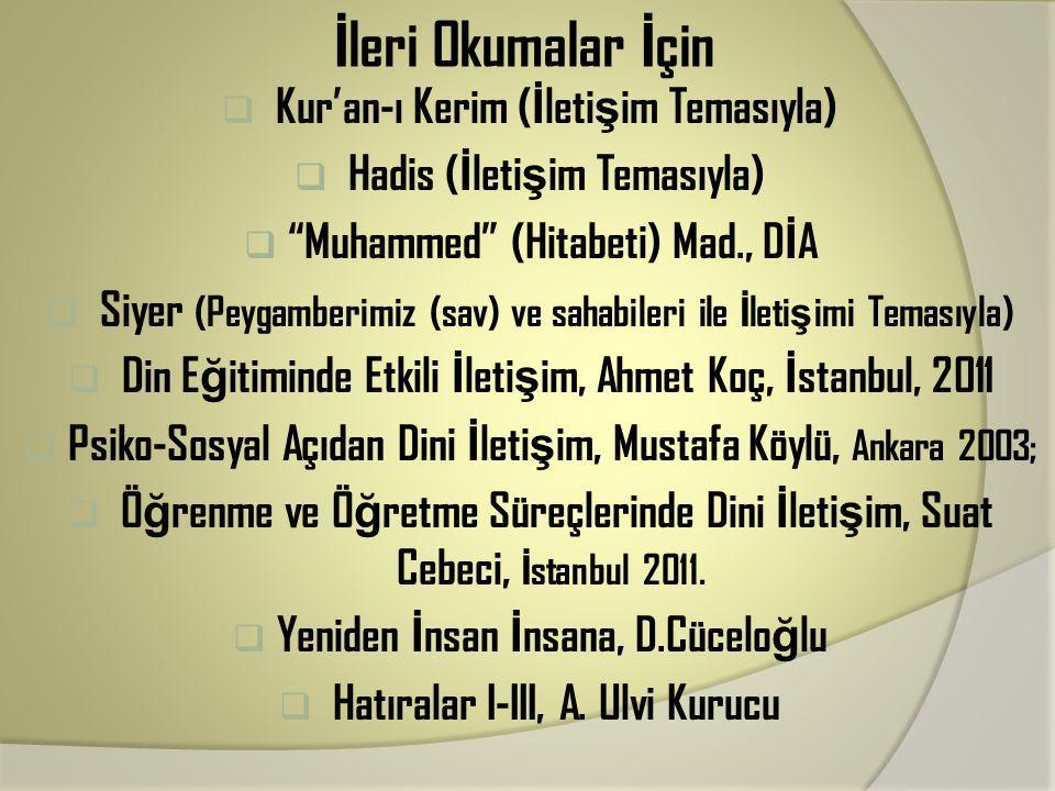İleri Okumalar İçin Kur'an-ı Kerim (İletişim Temasıyla)