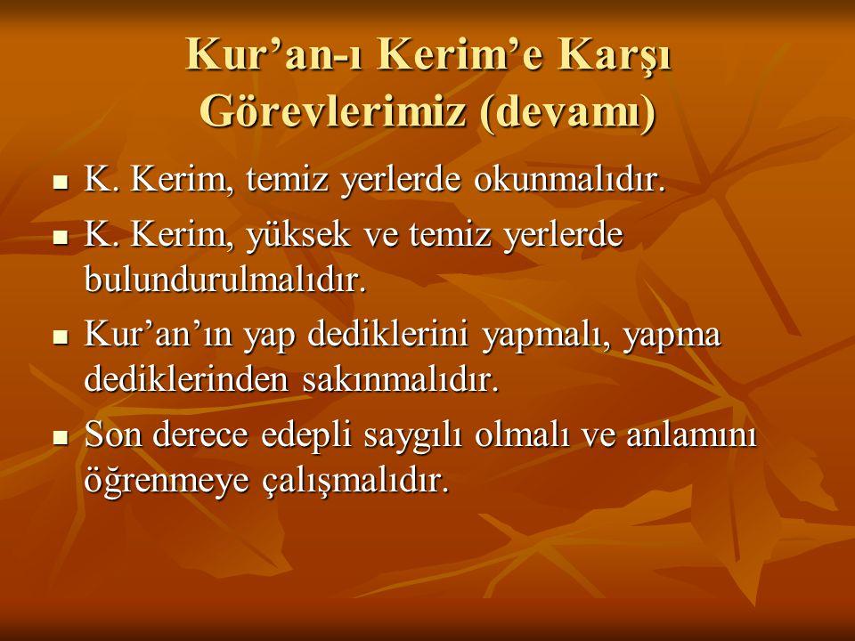 Kur'an-ı Kerim'e Karşı Görevlerimiz (devamı)