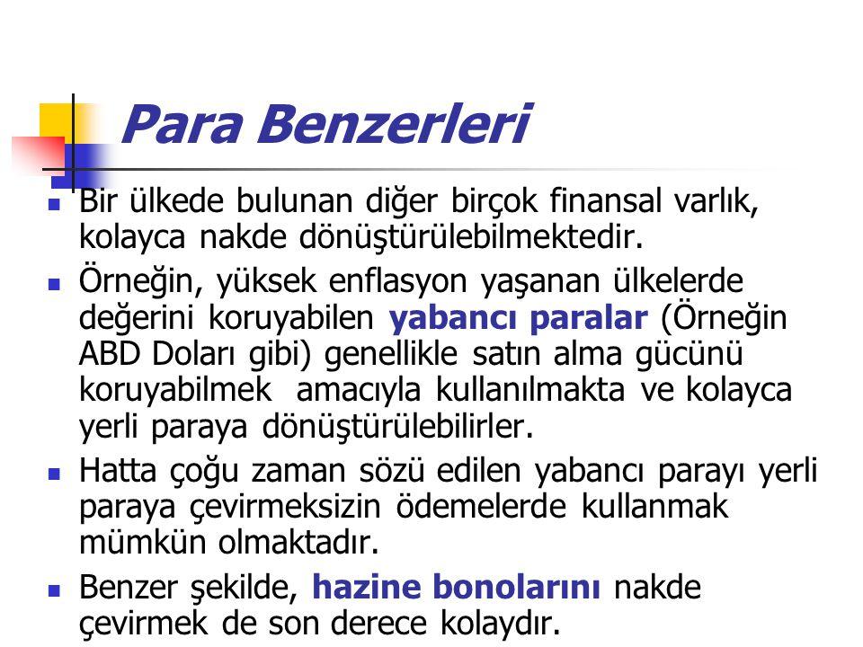 Para Benzerleri Bir ülkede bulunan diğer birçok finansal varlık, kolayca nakde dönüştürülebilmektedir.