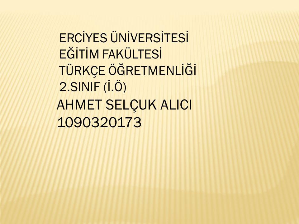 AHMET SELÇUK ALICI 1090320173 ERCİYES ÜNİVERSİTESİ EĞİTİM FAKÜLTESİ