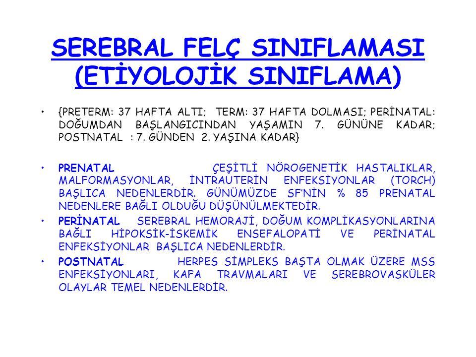 SEREBRAL FELÇ SINIFLAMASI (ETİYOLOJİK SINIFLAMA)