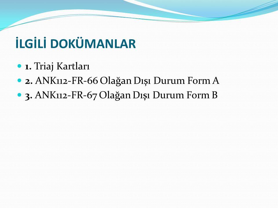 İLGİLİ DOKÜMANLAR 1. Triaj Kartları