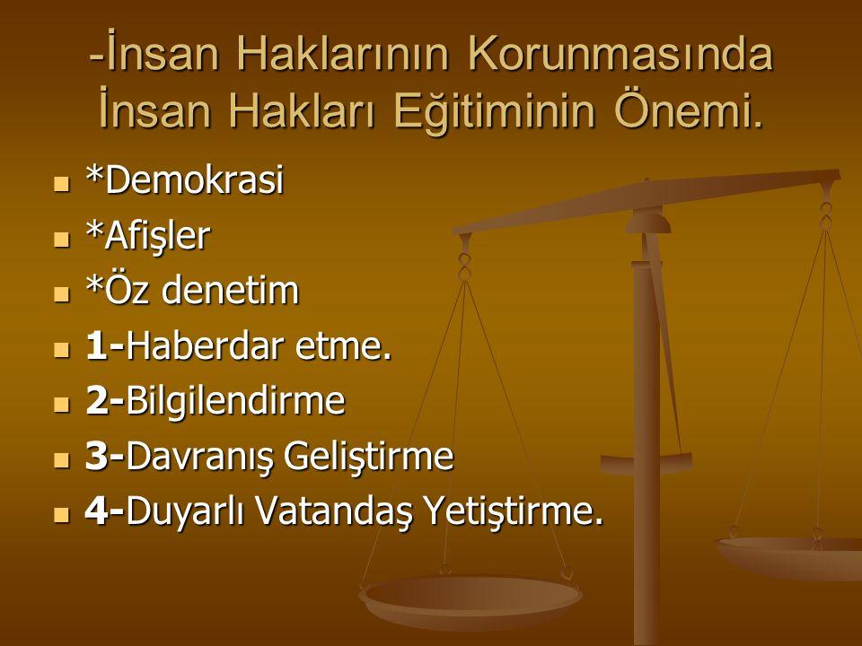 -İnsan Haklarının Korunmasında İnsan Hakları Eğitiminin Önemi.