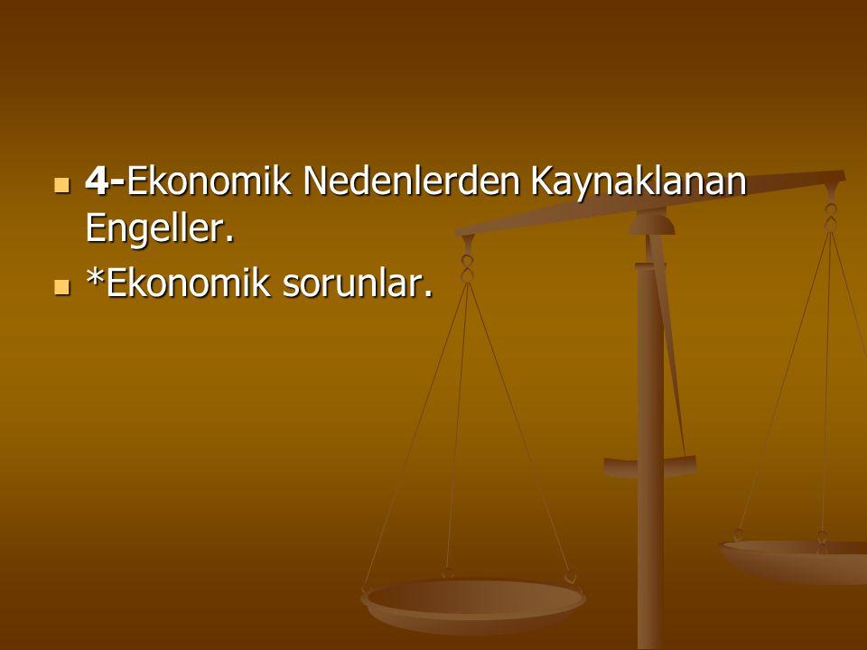 4-Ekonomik Nedenlerden Kaynaklanan Engeller.