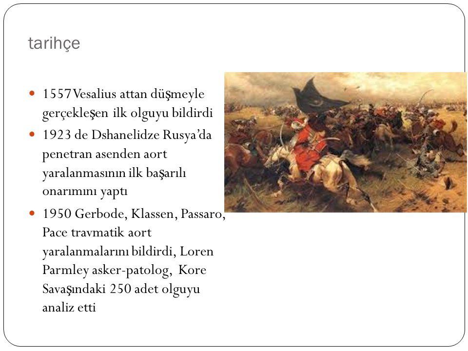tarihçe 1557 Vesalius attan düşmeyle gerçekleşen ilk olguyu bildirdi