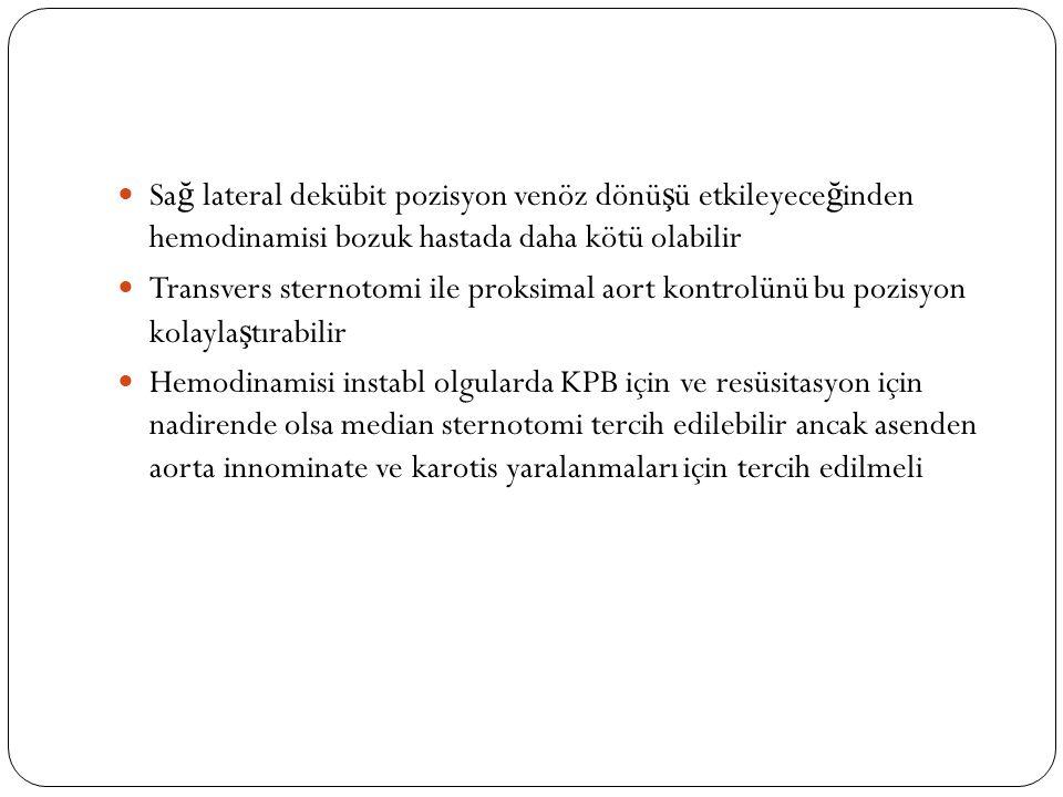 Sağ lateral dekübit pozisyon venöz dönüşü etkileyeceğinden hemodinamisi bozuk hastada daha kötü olabilir