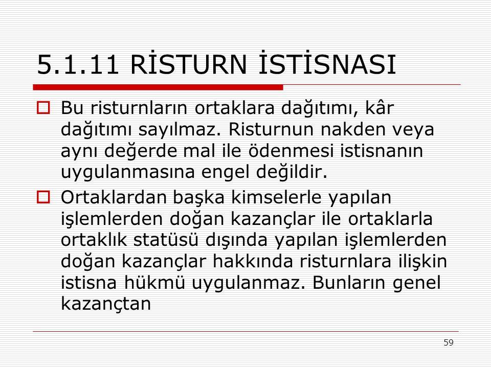 5.1.11 RİSTURN İSTİSNASI