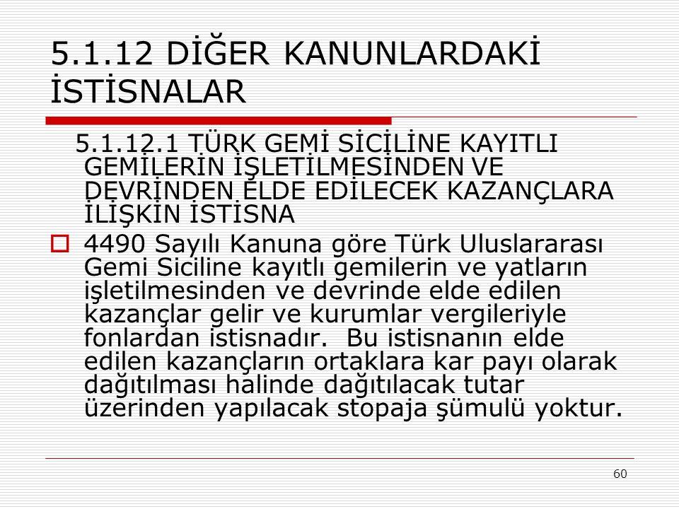 5.1.12 DİĞER KANUNLARDAKİ İSTİSNALAR