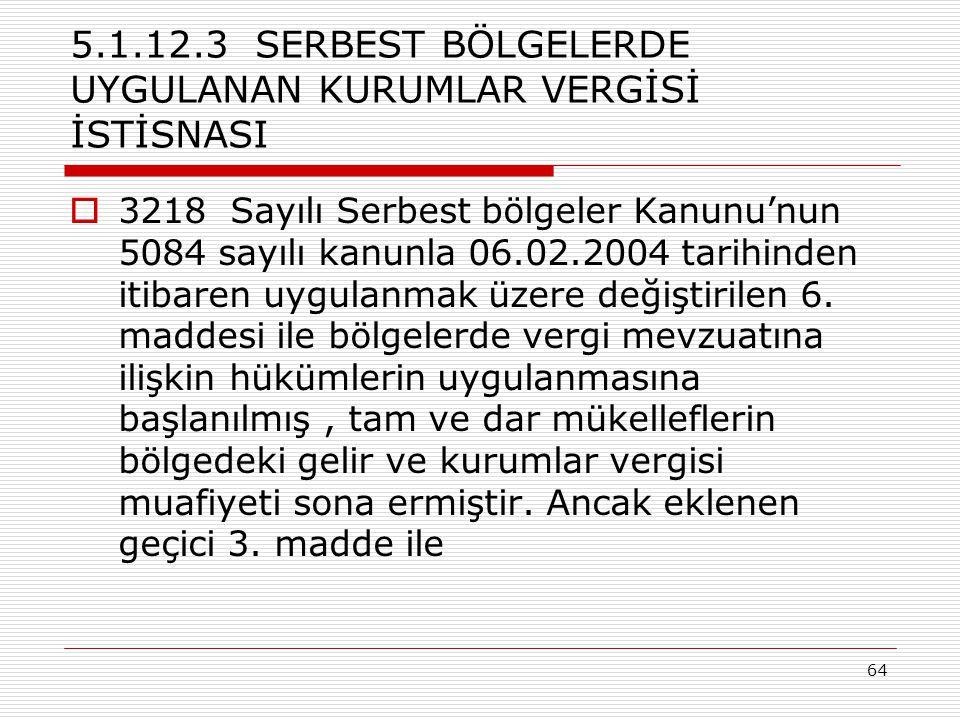 5.1.12.3 SERBEST BÖLGELERDE UYGULANAN KURUMLAR VERGİSİ İSTİSNASI