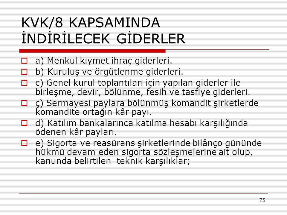 KVK/8 KAPSAMINDA İNDİRİLECEK GİDERLER