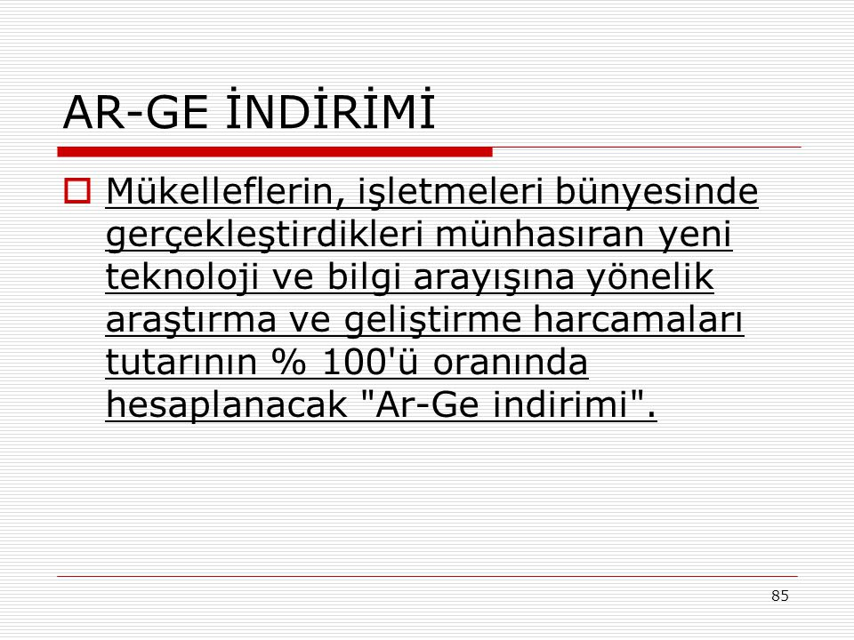 AR-GE İNDİRİMİ