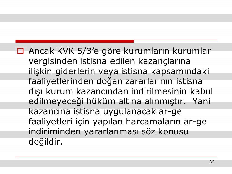 Ancak KVK 5/3'e göre kurumların kurumlar vergisinden istisna edilen kazançlarına ilişkin giderlerin veya istisna kapsamındaki faaliyetlerinden doğan zararlarının istisna dışı kurum kazancından indirilmesinin kabul edilmeyeceği hüküm altına alınmıştır.
