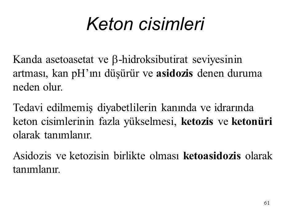 Keton cisimleri Kanda asetoasetat ve -hidroksibutirat seviyesinin artması, kan pH'ını düşürür ve asidozis denen duruma neden olur.