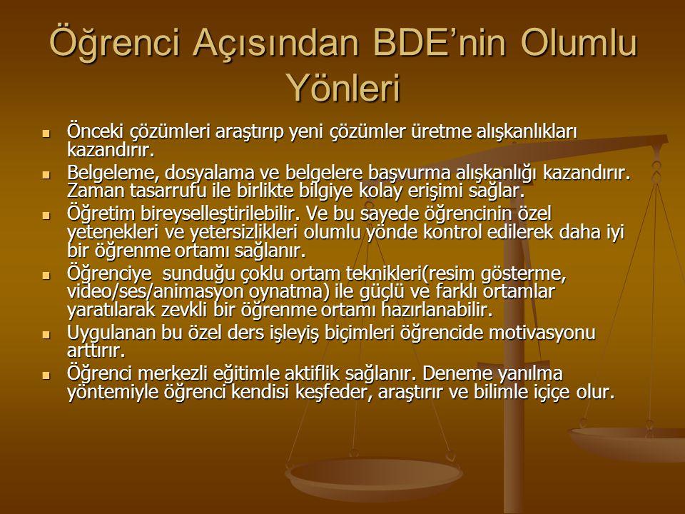 Öğrenci Açısından BDE'nin Olumlu Yönleri