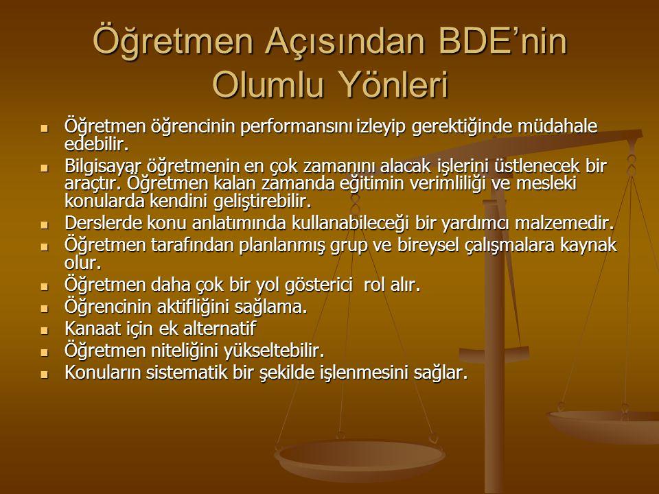 Öğretmen Açısından BDE'nin Olumlu Yönleri