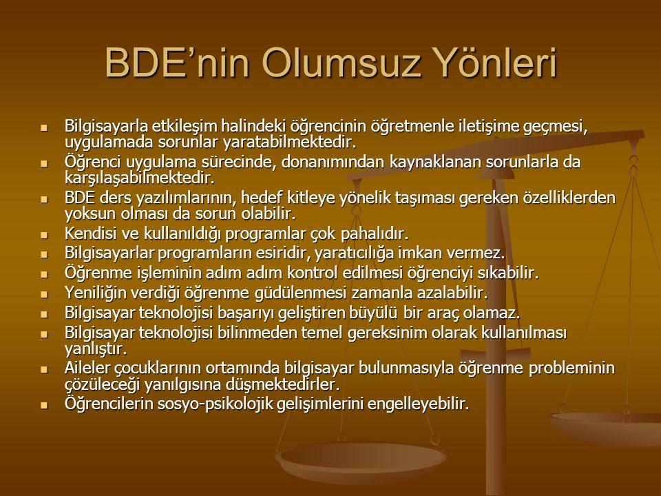 BDE'nin Olumsuz Yönleri