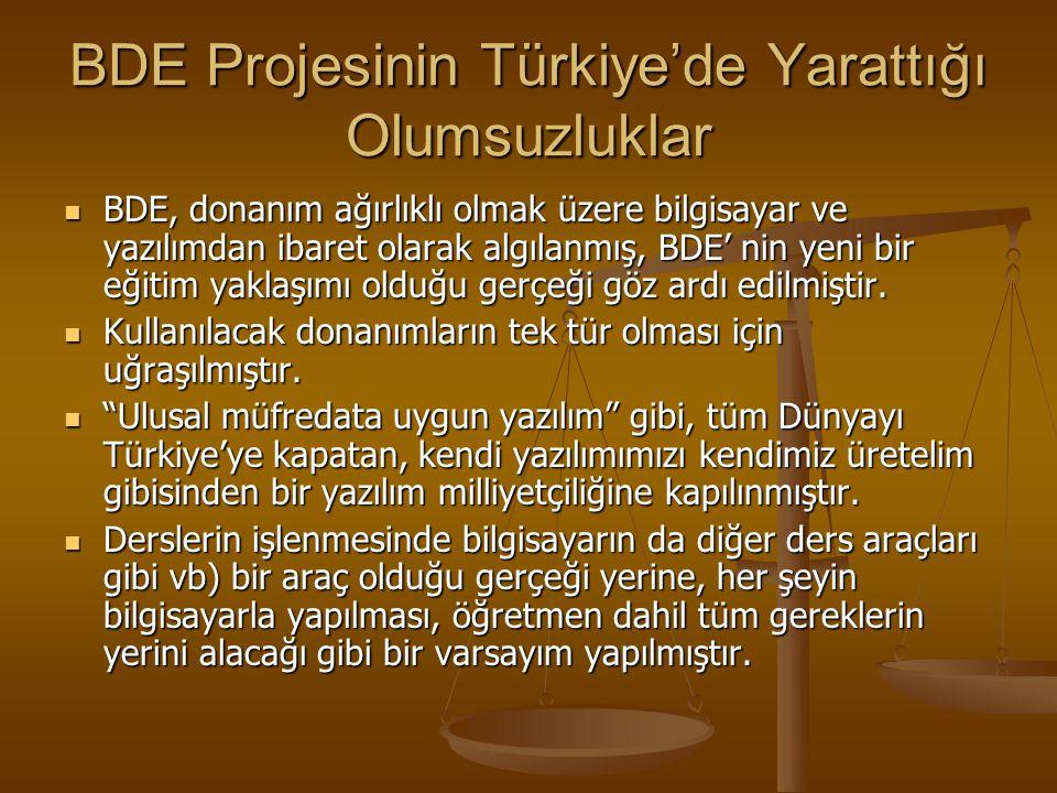 BDE Projesinin Türkiye'de Yarattığı Olumsuzluklar